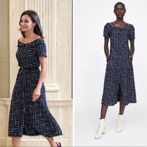 Zara dress tweed gem button sz large